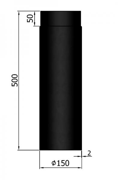 Rauchrohr 500 mm, ø 150 mm, schwarz