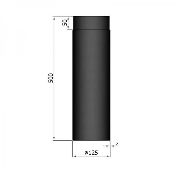 Rauchrohr 500 mm, ø 125 mm, schwarz
