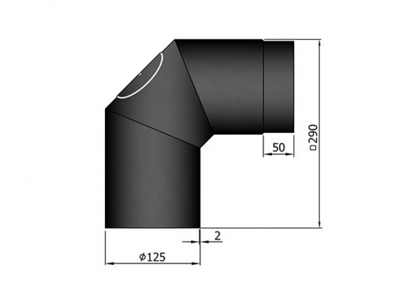 Segmentrohrbogen 2 x 45° mit Revisionstür, ø 125 mm, schwarz