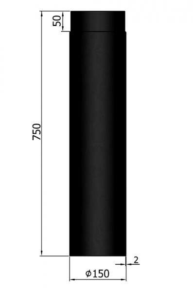 Rauchrohr 750 mm, ø 150 mm, schwarz