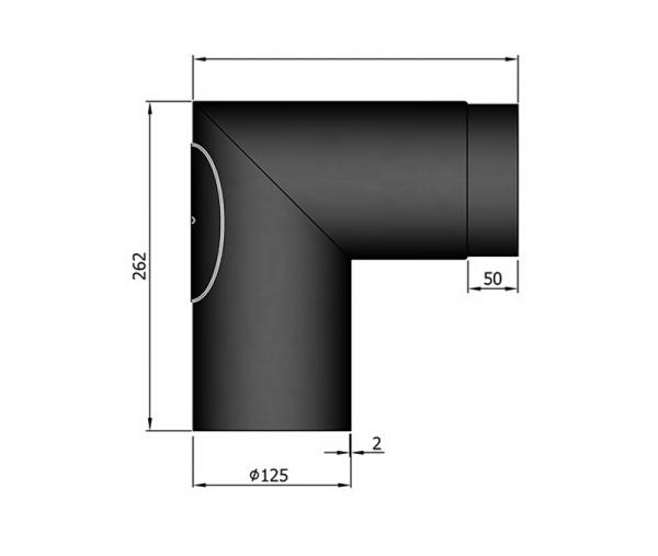 Rauchrohrwinkel 90° spitz mit Revisionstür, ø 125 mm, schwarz