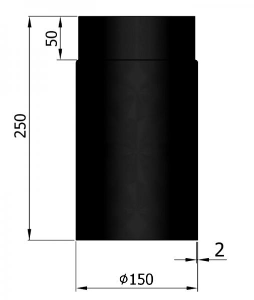 Rauchrohr 250 mm, ø 150 mm, schwarz