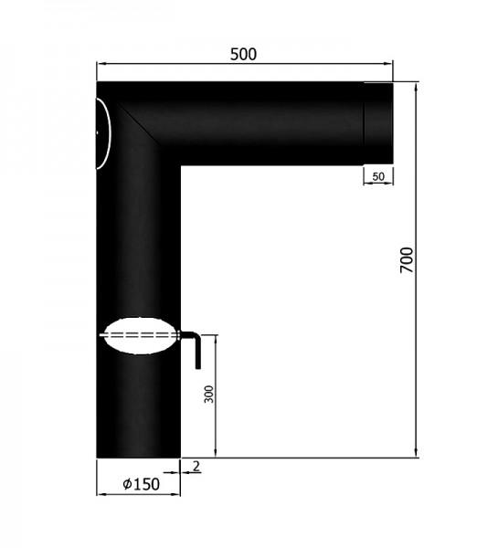 Rauchrohrwinkelbogen spitz mit Drosselklappe und Revisionstür, ø 150 mm