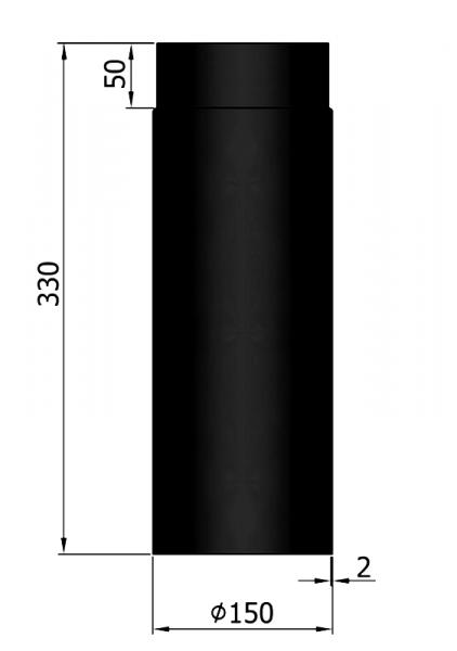 Rauchrohr 330 mm, ø 150 mm, schwarz